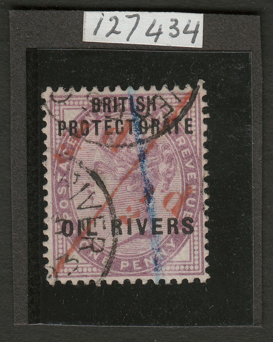 Oil Rivers Protectorate 1893 QV ½d on half 1d unsevered pair used SG7a