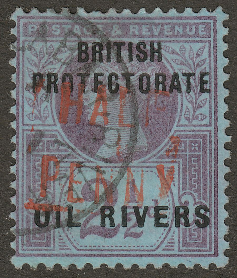 Oil Rivers Protectorate 1893 QV ½d on 2½d Type 6 used SG19