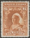 Niger Coast 1898 QV 6d Yellow-Brown perf 14½-15 Watermark Reversed Mint SG71x
