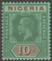 Nigeria 1932 KGV 10sh Green and Red on Green Die I Mint SG29a