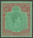 Nyasaland 1938 KGVI 10sh Bluish Green and Brown-Red on Pale Green Mint SG142a