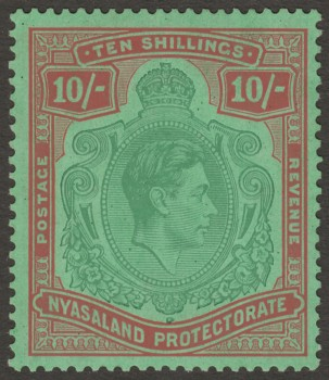 Nyasaland 1938 KGVI 10sh Bluish Green and Brown-Red on Pale Green SG142a