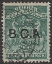 British Central Africa 1891 QV BCA Opt on BSAC 10sh Deep Green Used SG13