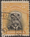 Rhodesia 1913 KGV Admiral 3d Black and Yellow Die I p14 Used SG210