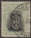 Rhodesia 1913 KGV Admiral 5d Black and Pale Green Die III p14 Used SG263