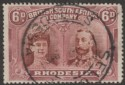 Rhodesia 1910 KGV Double Head 6d Brown and Mauve p15 Used SG176