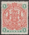 Rhodesia 1897 QV BSAC Large Arms 1d Scarlet and Emerald Mint SG67