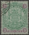 Rhodesia 1896 BSAC Large Arms 3sh Green and Mauve on Blue Used SG36