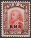 Sarawak 1945 Brooke BMA Overprint $5 Scarlet and Red-Brown Mint SG144