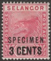 Malaya Selangor 1894 QV Leaping Tiger 3c on 5c Rose Specimen Overprint SG53s