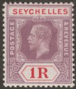 Seychelles 1920 KGV 1r Dull Purple and Red Mint SG94