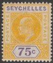 Seychelles 1903 KEVII 75c Yellow and Violet Mint SG54