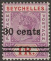 Seychelles 1902 QV 30c Surcharge on 1r Mauve + Red Var Narrow 0 in 30 Mint SG43a