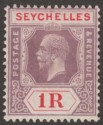 Seychelles 1921 KGV 1r Dull Purple and Red Die II Mint SG119