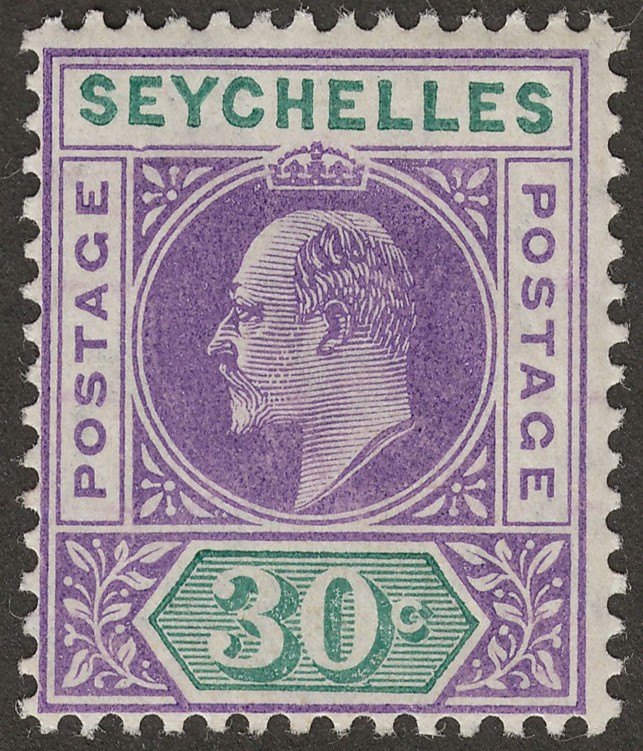 Seychelles 1906 KEVII 30c Violet and Green with Variety Dented Frame Mint SG66a