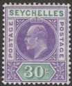 Seychelles 1906 KEVII 30c Violet and Dull Green Mint SG66