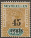 Seychelles 1893 QV 45c Surcharge on 48c Ochre and Green Mint SG20