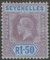 Seychelles 1918 KGV 1r50c Reddish Purple and Blue on Blue Die I Mint SG95