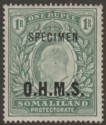 Somaliland Protectorate 1904 KEVII Specimen OHMS Service Opt 1r Green SG O15s