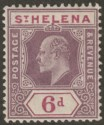 St Helena 1911 KEVII 6d Dull and Deep Purple Ordinary Paper Mint SG67a