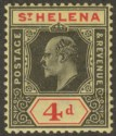 St Helena 1911 KEVII 4d Black and Red on Yellow Ordinary Paper Mint SG66a