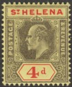 St Helena 1908 KEVII 4d Black and Red on Yellow Chalky Paper Mint SG66