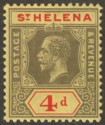 St Helena 1912 KGV 4d Black and Red on Yellow Mint SG83