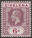 St Helena 1912 KGV 6d Dull and Deep Purple Mint SG84