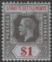 Malaya Straits Settlements 1914 KGV $1 Black and Red wmk Inverted Mint SG210w
