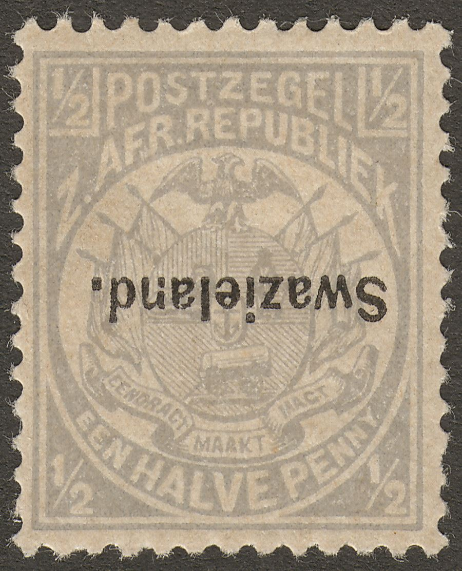 Swaziland 1894 QV ½d Grey Government Reprint Opt Inverted Mint SG Footnote
