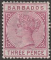 Barbados 1885 QV 3d Reddish Purple Mint SG96