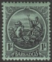Barbados 1924 KGV Seal 1sh Black on Emerald Mint SG226