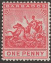 Barbados 1909 KEVII Seal of Colony 1d Red Mint SG165