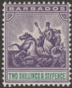 Barbados 1905 KEVII Seal of Colony 2sh6d Violet and Green Mint SG144