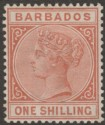Barbados 1886 QV 1sh Chestnut Mint SG102