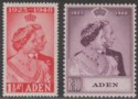 Aden 1949 KGVI Royal Silver Wedding 1½a Scarlet, 10r Mauve Mint SG30-31 cat £40