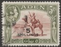 Aden 1951 KGVI Camel Corps 5sh on 5r Red-Brown and Olive-Green Used SG45