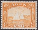 Aden 1937 KGVI Dhow 2r Yellow Mint SG10 cat £120