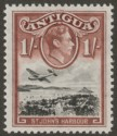 Antigua 1949 KGVI 1sh Black and Red-Brown Mint SG105a