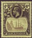 Ascension 1924 KGV Badge 4d Grey-Black and Black on Yellow Mint SG15
