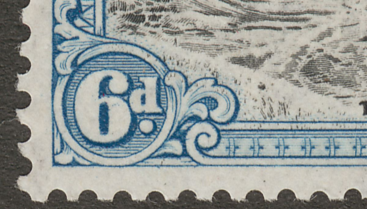 Ascension 1944 KGVI 6d Black and Blue p13 with Boulder Flaw Mint SG43ba