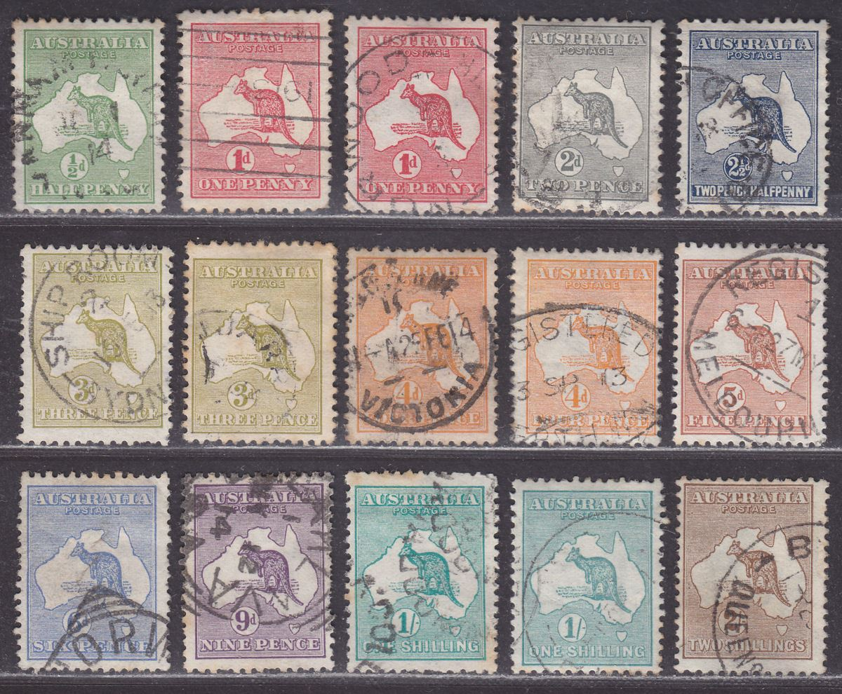 Australia 1913 KGV Roo wmk Wide Crown Part Set to 2sh Used with perf toning