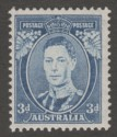 Australia 1938 KGVI 3d Bright Blue Die II Ordinary Paper Mint SG168ca