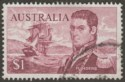 Australia 1966 QEII Flinders $1 Brown-Purple w Missing Top Left Frame Used SG401