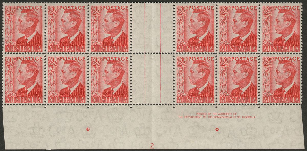 Australia 1950 KGVI 2½ Scarlet Imprint Block of 12 with complete Plate 2 BW 249z