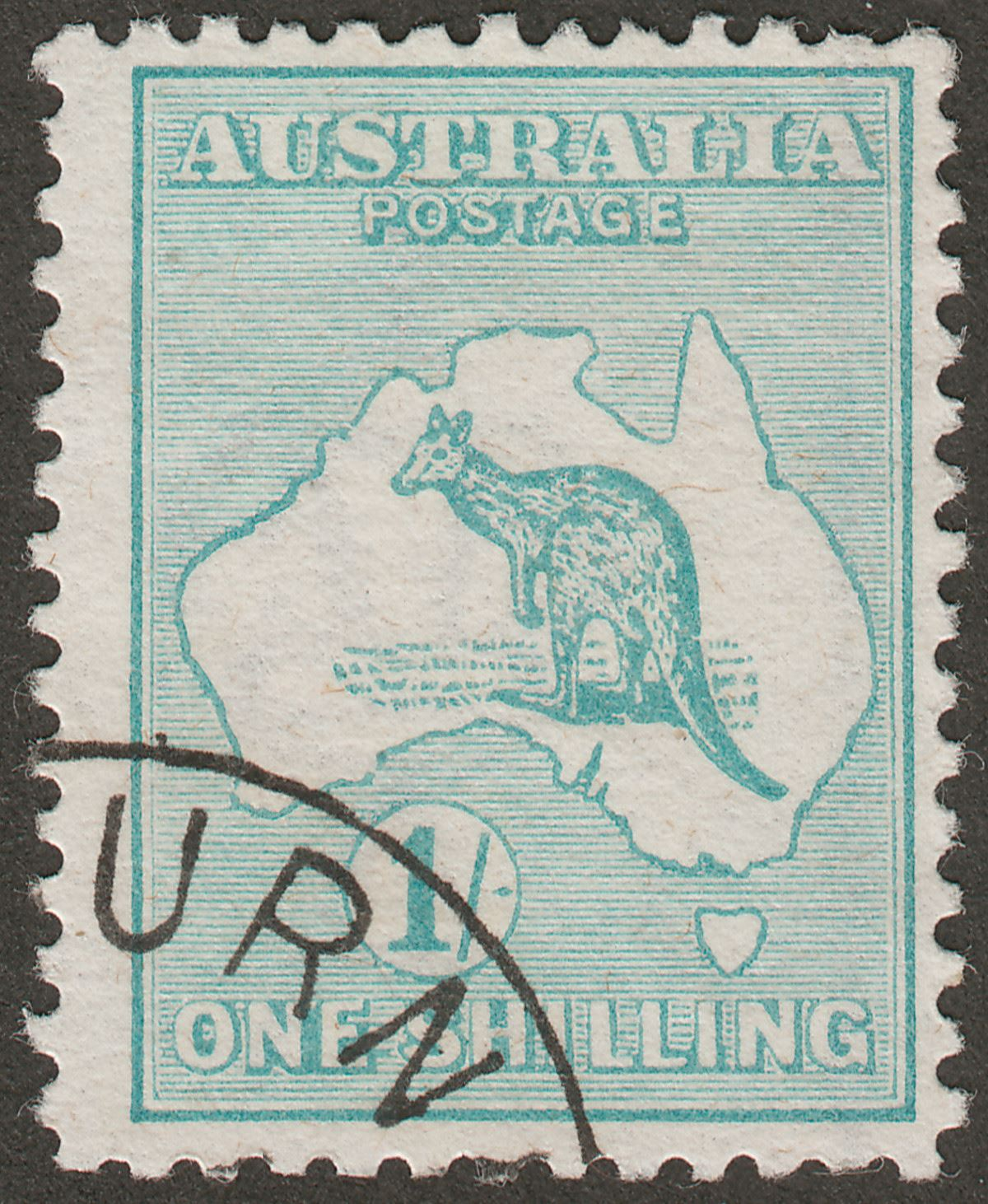 Australia 1913 Roo 1sh Emerald Used with JY 17 CTO Presentation Cancel