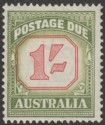 Australia 1954 QEII Postage Due 1sh Carmine and Yellow-Green Mint SG D129