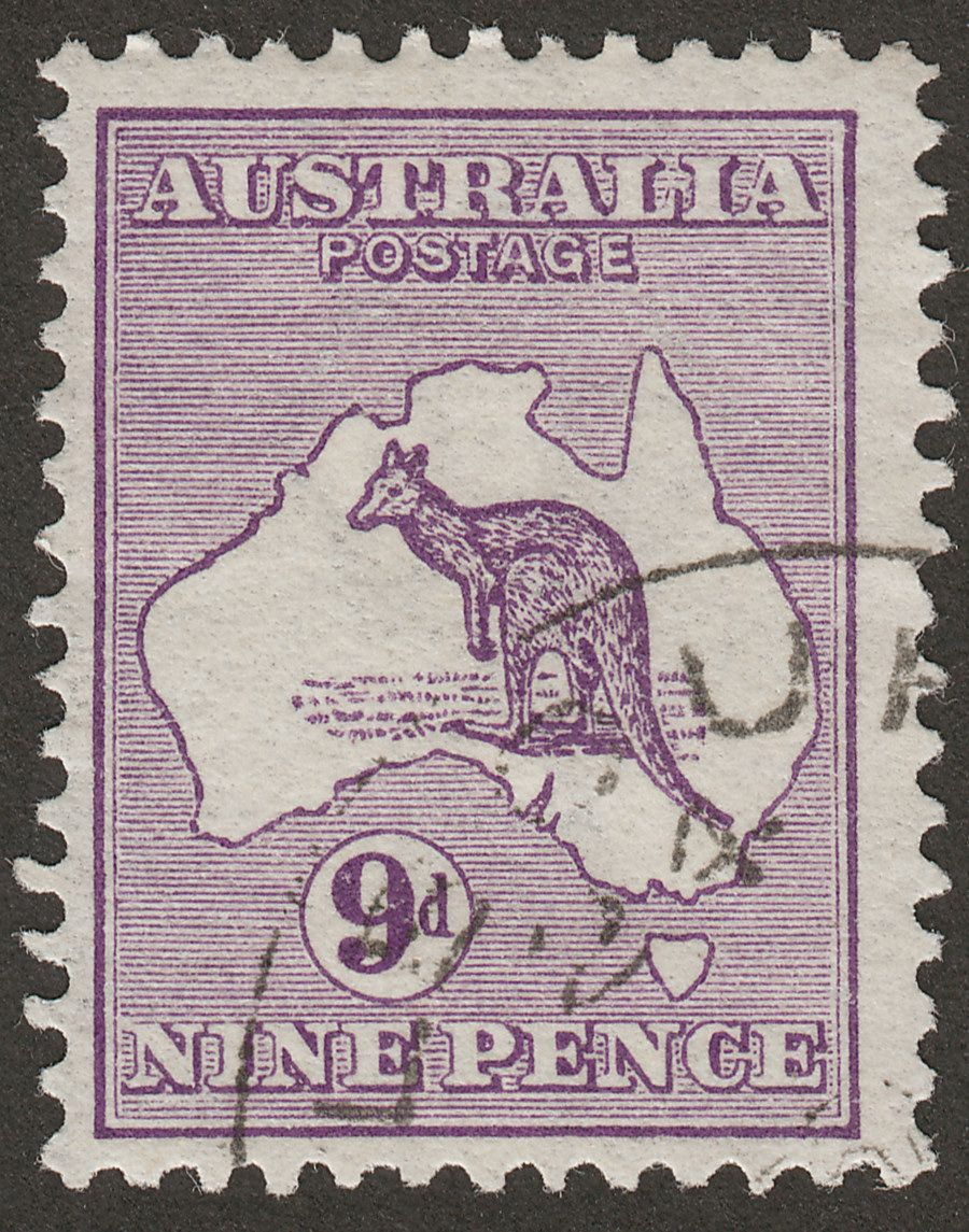 Australia 1913 KGV Roo 9d Violet wmk Wide Crown CTO Used SG10 with UPU Cancel