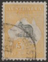 Australia 1918 KGV Roo 5sh Grey and Yellow wmk Narrow Crown Used SG42 surf fault
