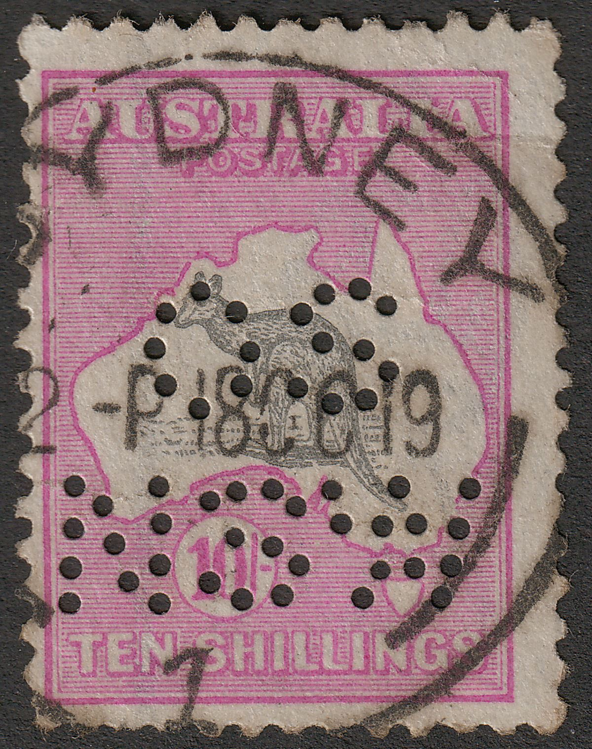 Australia 1919 KGV Roo 10sh Grey and Bright Pink perf OS NSW Used SG43a cat £325